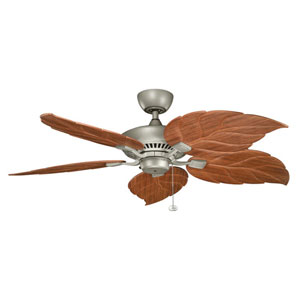Canfield Climates Antique Silver 52-Inch Ceiling Fan w/ Dark Oak All Weather Blades