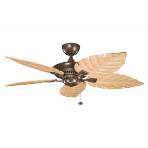 Canfield Climates Coffee Mocha 52-Inch Ceiling Fan w/ White-Washed Oak All Weather Blades