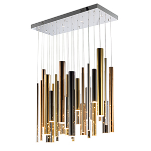 Flute Gold 35-Light LED Linear Pendant