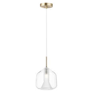 Deuce Satin Brass 8-Inch One-Light LED Mini Pendant with Clear Glass