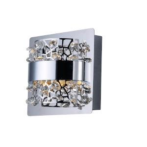 Tiara Polished Chrome One-Light LED Wall Sconce With Crystal Glass