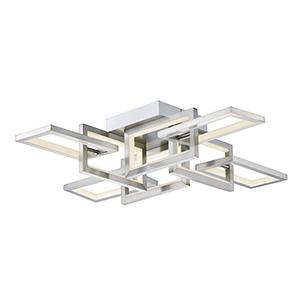 Link Satin Nickel Eight-Light LED Flush Mount