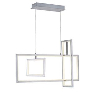 Link Satin Nickel Three-Light LED Linear Pendant