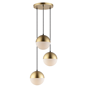 Half Moon Metallic Gold Three-Light LED Pendant