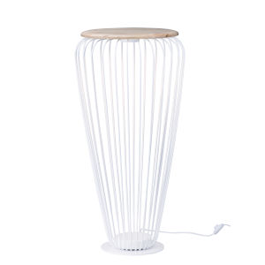 Cage White and Navaho White 20-Inch One-Light LED Cage Floor Lamp