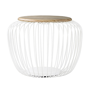 Cage White and Gold 24-Inch LED Table Lantern