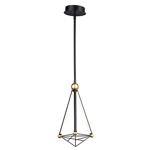 Spire Black and Gold Three-Light LED Mini Pendant