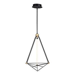 Spire Black and Gold Three-Light LED Single Pendant