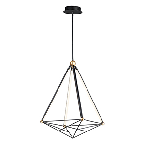Spire Black and Gold Four-Light LED Single Pendant