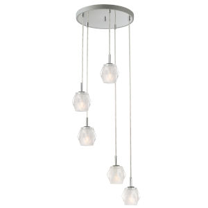 Tangent Polished Chrome Five-Light LED Cluster Pendant with Fasceted Glass