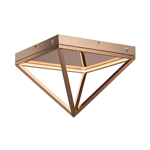 Pyramid Rose Gold 15-Inch LED Flush Mount