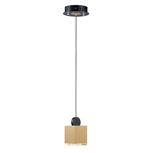 Nob Black and Gold Four-Inch LED Circular Mini Pendant