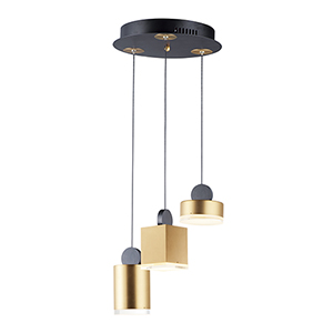 Nob Black and Gold Three-Light LED Pendant