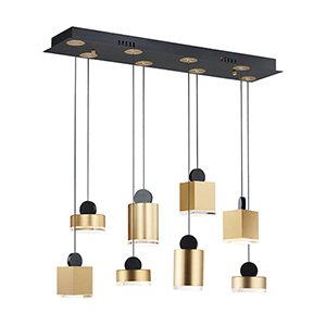 Nob Black and Gold Eight-Light LED Linear Pendant