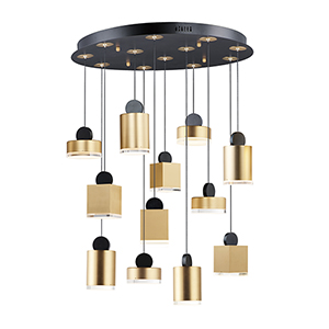 Nob Black and Gold 12-Light LED Pendant