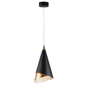 Swank Black and Metallic Gold One-Light LED Pendant