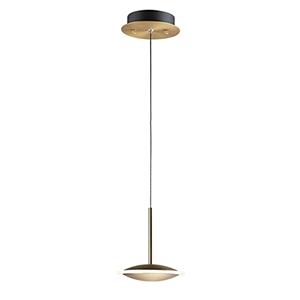 Saucer Black and Gold LED Mini Pendant