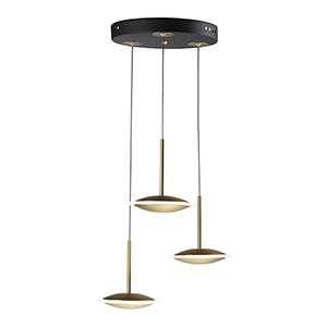 Saucer Black and Gold Three-Light LED Pendant
