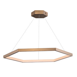 Hex Brushed Champagne One-Light LED Suspension Pendant