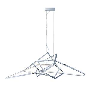 Trapezoid Polished Chrome LED Single Pendant