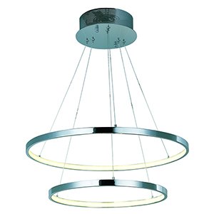 Hoops LED Polished Chrome Two-Light LED Pendant Energy Star