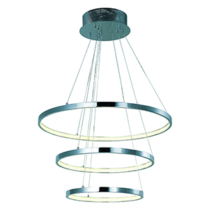 Hoops LED Polished Chrome 23-Inch LED Tiered Pendant Energy Star