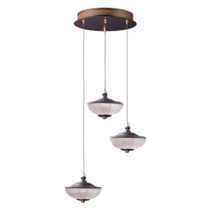 Bella Bronze and Gold Three-Light LED Multi-Light Pendant With Prismatic Clear Glass