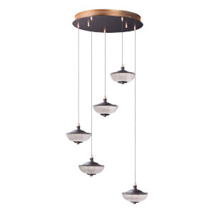 Bella Bronze and Gold Five-Light LED Multi-Light Pendant With Prismatic Clear Glass