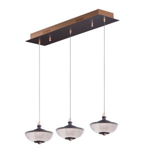 Bella Bronze and Gold Three-Light LED Linear Mini Pendant With Prismatic Clear Glass