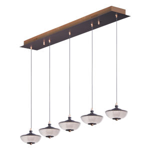 Bella Bronze and Gold Five-Light LED Linear Mini Pendant With Prismatic Clear Glass