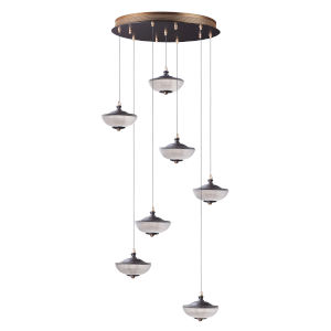 Bella Bronze and Gold Seven-Light LED Multi-Light Pendant With Prismatic Clear Glass