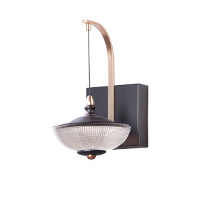 Bella Bronze and Gold One-Light LED Wall Sconce With Prismatic Clear Glass