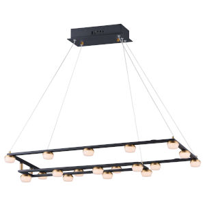 Button Black and Gold 19-Light LED Suspension Pendant With Clear Acrylic Glass