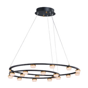 Button Black and Gold 18-Light LED Suspension Pendant With Clear Acrylic Glass