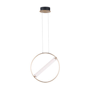 Flare Black and Soft Gold One-Light LED Mini Pendant With Clear and Frosted Glass