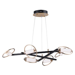 Flare Black and Soft Gold Six-Light LED Suspension Pendant With Clear and Frosted Glass