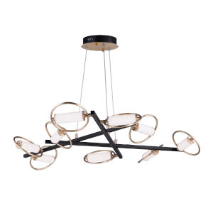 Flare Black and Soft Gold Nine-Light LED Suspension Pendant With Clear and Frosted Glass