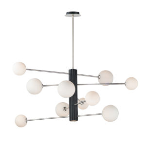 Cog Black And Satin Nickel 45-Inch 11-Light LED Pendant