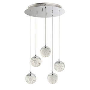 Orb II Polished Chrome 15-Inch 5-Light LED Pendant