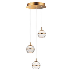 Ambit Natural Aged Brass Three-Light LED Mini Pendant