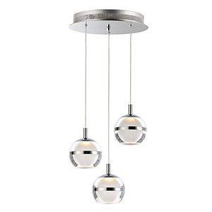 Swank Polished Chrome Three-Light LED Pendant