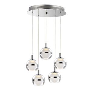 Swank Polished Chrome 5-Light LED Pendant