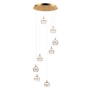 Swank Natural Aged Brass Eight-Light LED Pendant