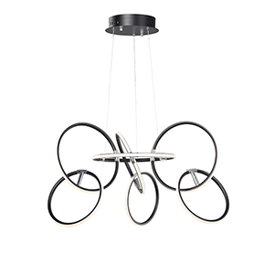 Ringer Black and Polished Chrome Seven-Light LED Pendant