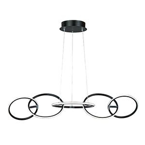 Ringer Black and Polished Chrome 5-Light LED Linear Pendant