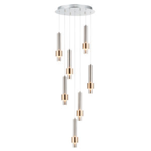 Reveal Satin Nickel and Satin Brass 18-Inch Seven-Light LED Pendant