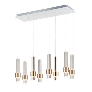 Reveal Satin Nickel and Satin Brass 10-Inch Eight-Light LED Mini Pendant