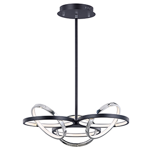 Gyro II Black and Polished Chrome Six-Light LED Pendant