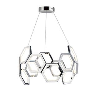 Polygon Polished Chrome LED Single Pendant
