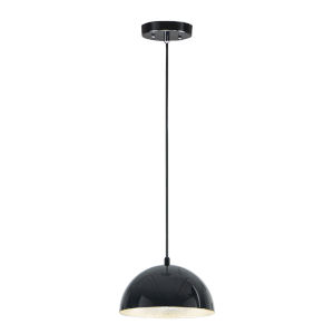 Hemisphere Gloss Black and Aluminum 9-Inch LED Pendant